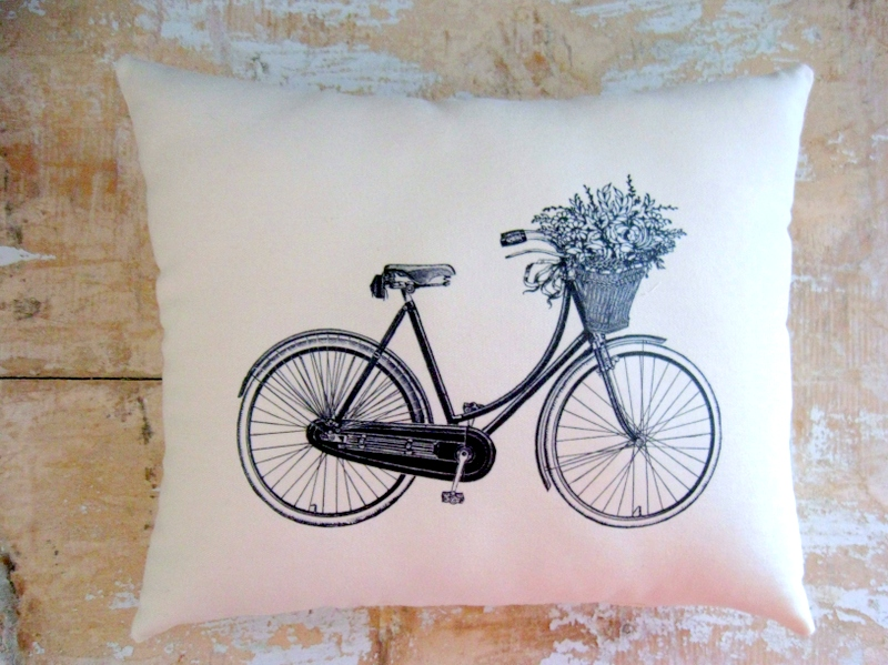 Bicycle Pillow, Vintage Bicycle, Flower Basket, French Country Home, French Decor, Cottage Decor