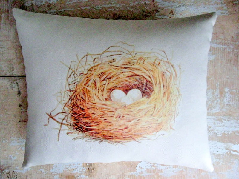 Bird Nest Pillow French Country Home French Decor