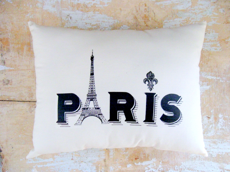 paris pillow eiffel tower french country home cottage On home decorations paris