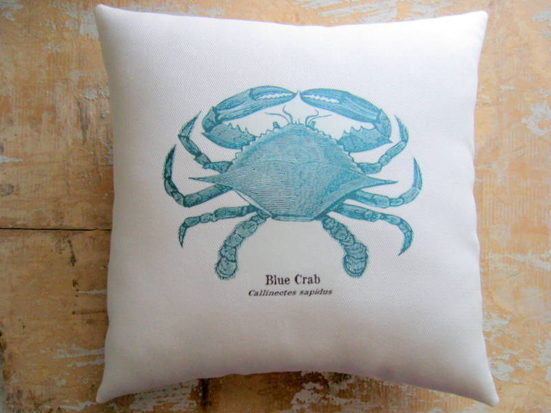 beach pillow blue crab nautical ocean beach decor cottage decor - Ocean Decor