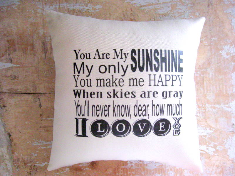 Pillow, You Are My Sunshine, Cottage Decor, Typography on Luulla