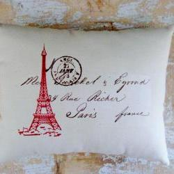 Eiffel Tower Pillow, French Country Home, Paris, French Decor, Postal
