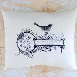 Bird Pillow, French Country Home, French Decor, Cottage Decor