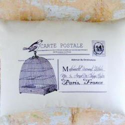 French Pillow, Birdcage, Bird, French Country Home, Paris, Postal, Cottage Decor