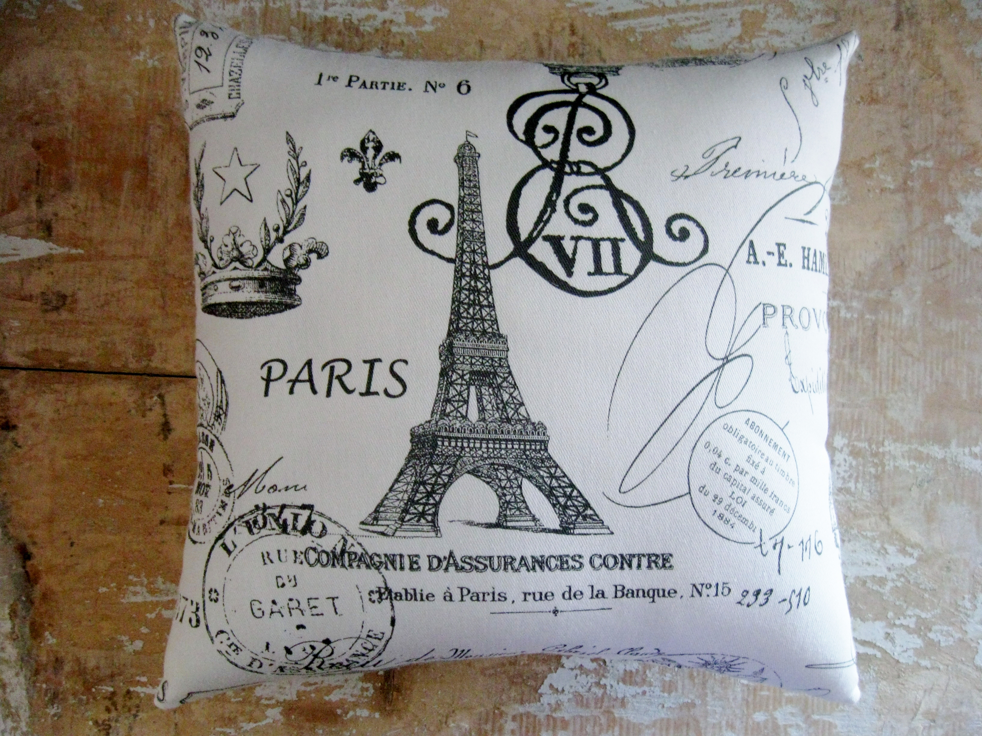 french country pillow french decor eiffel tower paris cottage decor - French Decor