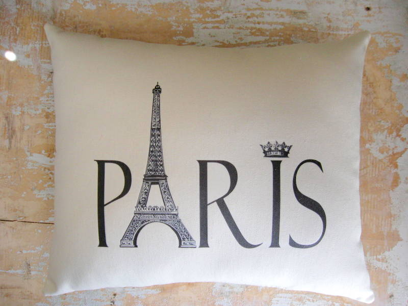 paris pillow french country home french decor paris decor cottage decor on luulla. Black Bedroom Furniture Sets. Home Design Ideas