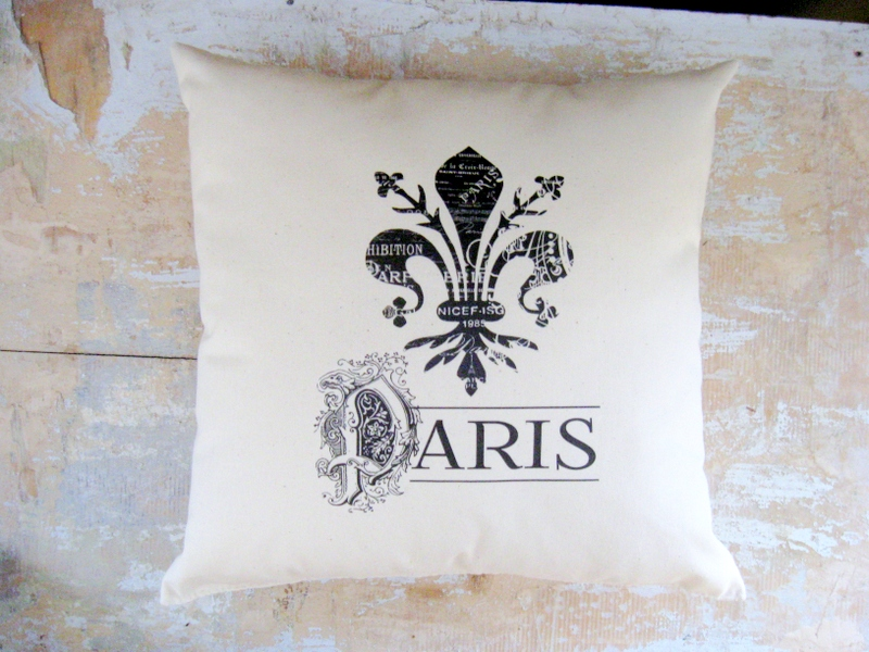 Fleur De Lis Pillow Paris French Country Home Cottage Decor French Decor